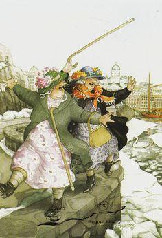 Kunstpostkarte - Inge Löök: Freude auf der Kaimauer / Nr. 22