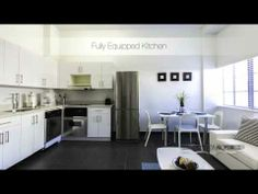 Bright, white 'Evelyn' is the perfect one-bedroom apartment for your trip to South Beach Furnished Apartments For Rent, Florida Rentals, Corporate Apartments, One Bedroom Apartment, South Beach, Lodges, Miami, Vancouver, Kitchen