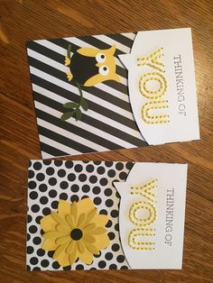 pair of ggreeting cards fromMarch Paper Pumpkin ... black and white with yellow accents ... luv the hand stitched YOU ... Stampin Up