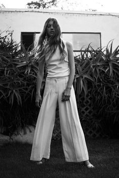 white pleated wide leg pants #style #fashion