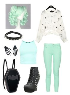 """Pastel Goth"" by pipertehcat ❤ liked on Polyvore featuring French Connection, Bettie Page and CO"