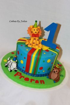 Animals with party hats!! — Children's Birthday Cakes
