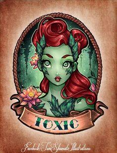 Tim Shumate pin up Poison Ivy tattoo idea. Arte Disney, Disney Art, Arte Grunge, Gotham Girls, Dibujos Cute, Disney Tattoos, Pin Up Art, Pics Art, Conte