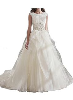 MILANO BRIDE Romantic Bridal Wedding Dress Jewel Ball Gown Tulle Ruffles Beadings-14-Pure White * See this great product.