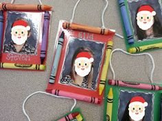 Crayon Ornaments with school pictures