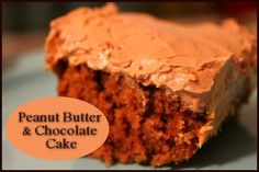 Peanut Butter and Chocolate Cake  http://www.momspantrykitchen.com/peanut-butter-and-chocolate-cake.html