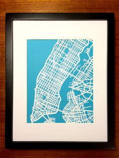 Hand Cut paper map of Manhattan, NYC by CUTdesignsrt on Etsy Cut Paper, Paper Cutting, Manhattan New York, Maps, Moose Art, My Etsy Shop, Nyc, Creative, Handmade