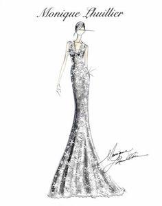 Boceto de un vestido de novia de Monique Lhuillier. #bocetos #vestidos #moda