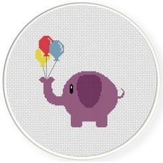 Charts Club Members Only: Elephant With Balloon Cross Stitch Pattern