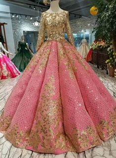 Red Ball Gown Sequins Gold Sequins Appliques Long Sleeve Wedding Dress