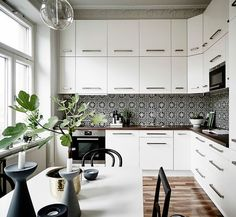 white kitchen with patterned tiles: