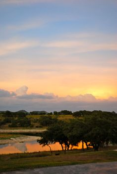 A beautiful sunrise at Paniolo Ranch Bed & Breakfast Spa in Boerne, Texas.
