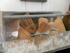 whisk brooms nestled inside an old tool tote