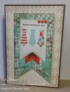 Dexterous Designs: Happy Father's Day with Stampin' Up!Happy Father's Day with Stampin' Up! Baby's First Framelits / Argyle Embossing Folder / Banners Collection Framelits / Clockworks Stamp Set. Full details on dexterousdesigns.blogspot.co.uk