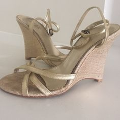 """BCBG Dobee Gold Wedges Add these soft gold wedges to your summer wardrobe. Woven 4"""" wedge heel. BCBG Shoes Wedges"""