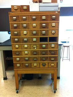 I remember these old wooden card index holders in the library - would love one. Great storage potential for crafty bits and pieces!