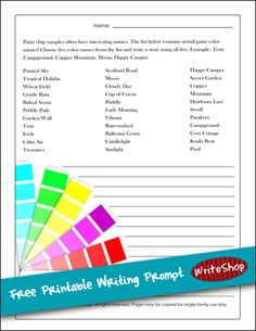 Free printable writing prompt - Let paint-chip color names inspire children's creative story-writing! {via In Our Write Minds}