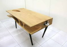 Multifunction and multi-user desk is shared by people and cats