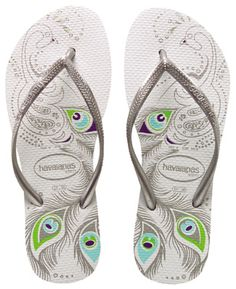 The flip flop is starting to grow on me. I've noticed lots of women wearing Havaianas on the tube in the morning instead of trainers. Peacock Shoes, Shoe Boots, Shoes Sandals, Designer Sandals, Bride Shoes, Glass Slipper, Flip Flop Sandals, Just In Case, Ancient Architecture