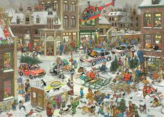 Jigsaw puzzle of 1000 pieces made by Jumbo: 1000 pcs - Christmas - Jan van Haasteren (by Jumbo). A 1000 pieces jigsaw puzzle made by Jumbo (reference Size: 68 x 49 cm (= x inch). Christmas Jigsaw Puzzles, Christmas Puzzle, Illustrator, Foundation Stage, Cartoon Art Styles, Puzzle Art, Hidden Pictures, Cartoon People, Holiday Time