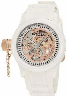 Invicta Women's 1827 Russian Diver White Skeleton Dial Watch Invicta. $288.00. Water-resistant to 50 m (165 feet). Rose gold tone skeleton dial with silver tone hands and black hour markers; 18k rose gold ion-plated stainless steel secured screw-down cap on crown; exhibition case back. Silver tone second hand. Precise mechanical movement. Flame-fusion crystal; white ceramic case; white polyurethane strap with rose gold ion-plated stainless steel pins
