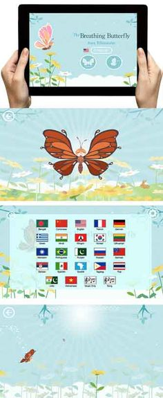 The Breathing Butterfly app each young users to relax, breathe, and enjoy the moment. - in 22 languages and choose your own wings #breathe #kidsyoga #mindfulness #relax