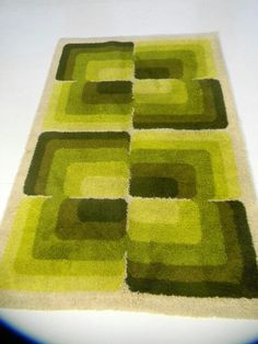 Eames Era vintage rug, shades of green