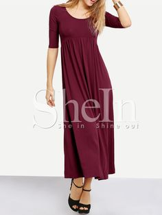 Burgundy Scoop Neck Cut Out Back Maxi Dress -SheIn(Sheinside) Mobile Site