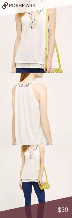 Anthropologie Tiny Cream Casia Sequin Swing Tank Romantic white layered skit v neck sequin sleeveless tank. Layered bottom. Excellent condition. Armpit to armpit: 19.75 inches, Length from shoulder: 25.5 inches Anthropologie Tops Tank Tops