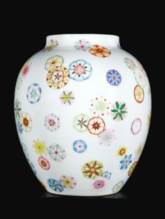 China modern porcelain multicoloured Magic cube pattern pot vase Collectibles