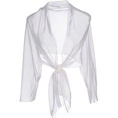 Alberta Ferretti Shrug ($334) ❤ liked on Polyvore featuring tops, white, white long sleeve top, alberta ferretti, shrug cardigan, white top and chiffon shrug