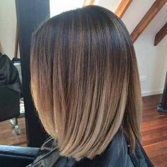 Hair Color Trends 2018 Highlights : Blunt Lob Haircut Blended Balayage with Subtle Highlights Balyage Short Hair, Short Brown Hair, Short Hair For Curly Hair, Long Short Hair, Balage Hair, Dye Hair, Straight Hair, Prom Hair, Medium Hair Styles