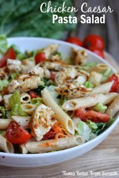 Easy Chicken Caesar Pasta Salad via @bestblogrecipes