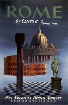 Retro wall decor doesn't get cooler than the Rome Travel Ad Poster. This vintage-style poster features great Rome landmarks and beautiful colors. Travel Ads, Airline Travel, Rome Travel, Italy Travel, Vintage Italian Posters, Vintage Travel Posters, Vintage Airline, Illustrations Vintage, Retro Poster