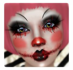 This bloody clown makeup is going to be my hunt item when Horrorfest begins o/ It comes in 8 different layers so you can wear it all or only an element. Also comes without lipcolor. You can always right-click-add to wear lots of makeup.