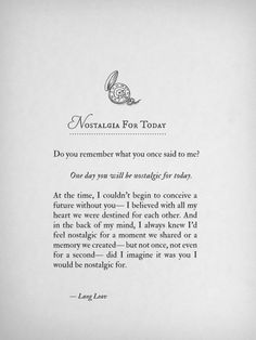 Nostalgia For Today by Lang Leav