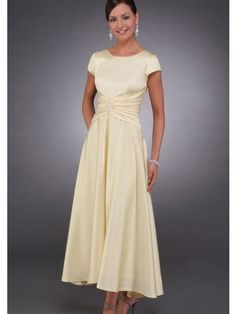A-line Scoop Short Sleeves Satin Mother of the Bride Dresses