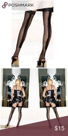 Ruffle Backseam Thigh High Lace Stockings Black Ruffle Backseam Thigh High Lace Top Stockings Black  1915 Thigh Highs Accessories Hosiery & Socks