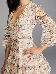 Floral Memories V-neck A-line Dress - UnikWe Boutique Designer Dress Hire, Pinterest Fashion, Beautiful Gowns, Ruffle Dress, Dress Patterns, Dresses Online, Dresses With Sleeves, Sleeve Dresses, Casual Dresses