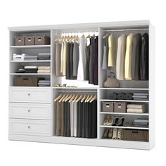 Bestar Storage kit - The efficiency of the Versatile collection by Bestar allows you to enjoy your living space.From the wall unit to the wall bed, furniture pieces in the Bestar Versatile Collection combine practicality . 3 Drawer Storage Unit, Wall Storage, Closet Storage, Closet Organization, Storage Organization, Closet Organizer With Drawers, Closet Shelving, Closet Drawers, Bedroom Storage