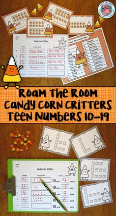 This is a candy corn themed roam the room small group number sense activity for kindergarten,  incorporating base ten blocks or ten frames with writing numerals, writing number words, and representing a given quantity with tally marks, on ten frames, and by drawing base ten blocks. The concept of teen numbers being composed of ten and a number and one less and one more than a number are also addressed. $