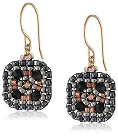 Miguel Ases Small Square Drop Earrings