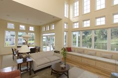 ENERGY STAR certified windows give you the optimum energy efficiency and comfort. Installing ENERGY STAR windows lowers energy bills and saves you money. Energy Star Windows, Ceiling Height, Energy Efficiency, Living Spaces, Vinyl Windows, Restoration, Curtains, Family Rooms, Change