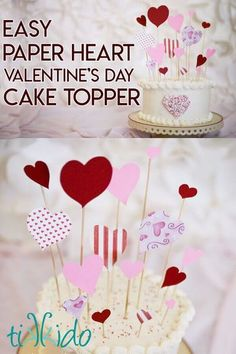 make this easy Valentine's day cake topper in just a few minutes with some scrapbook paper and skewers. It's a dramatic, fun cake topper tutorial that can be adapted to many different themes. Valentines Day Cakes, Valentine Desserts, Valentines Day Gifts For Him, Valentine Day Crafts, Diy Cake Topper, Cake Topper Tutorial, Cake Toppers, Quick And Easy Crafts, Valentine's Cards For Kids