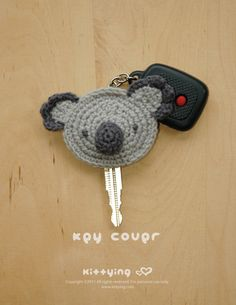 Koala Key Cover Crochet PATTERN by Kittying.com / Mulu.us GIFT       ♪ ♪ ... #inspiration_crochet #diy GB