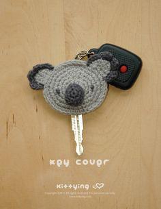 Koala Key Cover Crochet PATTERN by Kittying.com / Mulu.us