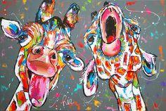 Canvas of Poster Giraffe Painting, Giraffe Art, Fabric Painting, Diy Painting, Watercolor Paintings, Animal Paintings, Animal Drawings, Funky Art, Colorful Animals