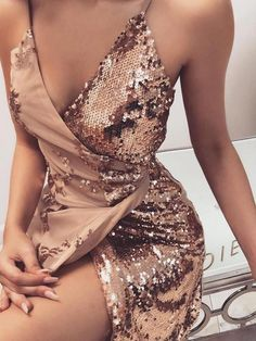 Shop Sequins Wrapped Knot Back Sleeveless Mini Dress – Discover sexy women fas. Shop Sequins Wrapped Knot Back Sleeveless Mini Dress – Discover sexy women fashion at IVRose Women's Dresses, Elegant Dresses, Dress Outfits, Evening Dresses, Fashion Outfits, Party Dresses, Dress Fashion, Dresses Online, Summer Dresses