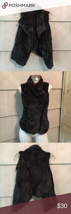Faux Fur Material Girl Vest Adorable dark gray faux fur vest. Used but excellent condition. Size small. No trades Material Girl Jackets & Coats Vests