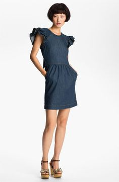 RED Valentino Ruffle Sleeve Denim Dress available at Nordstrom